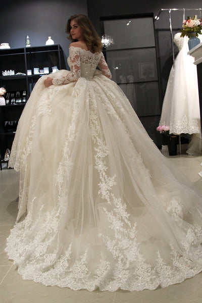 105723f6c862 Long Sleeves Lace Wedding Dress Ball Gown Off-the-shoulder ...