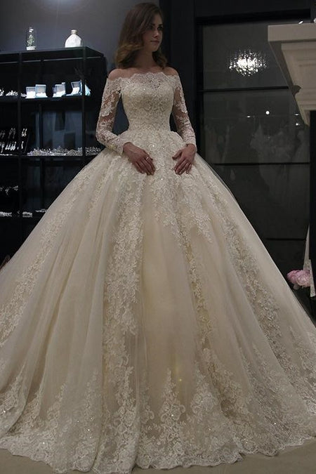 Illusion Lace Ball Gown Wedding Dress Ivory Tulle Skirt