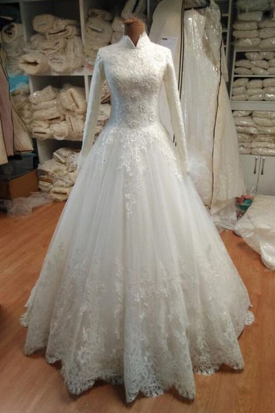 long-sleeves-modest-wedding-dress-with-lace-tulle-skirt