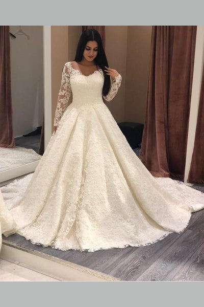 Long Sleeves Plus Size Lace Wedding Gown with V-neckline