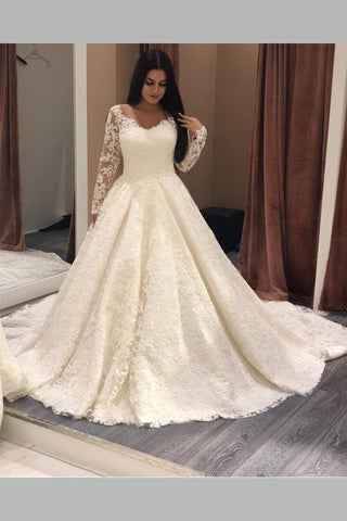 Long Sleeves Plus Size Lace Wedding Gown With V Neckline Loveangeldress