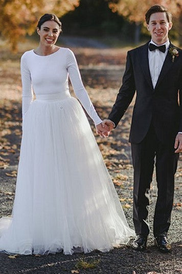 long-sleeves-spandex-t-shirt-wedding-dress-with-separate-tulle-skirt-1