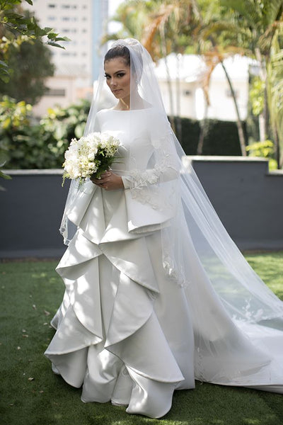 long-sleeves-white-wedding-gown-with-flounced-skirt-4