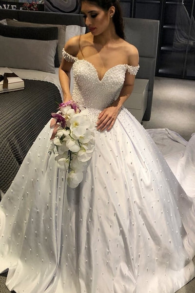 long-train-pearls-wedding-gowns-satin-off-the-shoulder-1