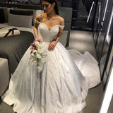 long-train-pearls-wedding-gowns-satin-off-the-shoulder
