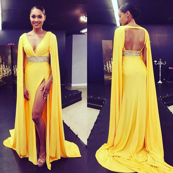 loose-long-sleeves-yellow-prom-gowns-with-beaded-band-1