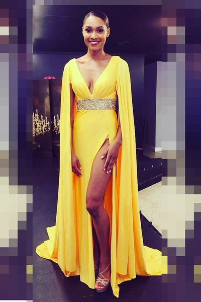 loose-long-sleeves-yellow-prom-gowns-with-beaded-band