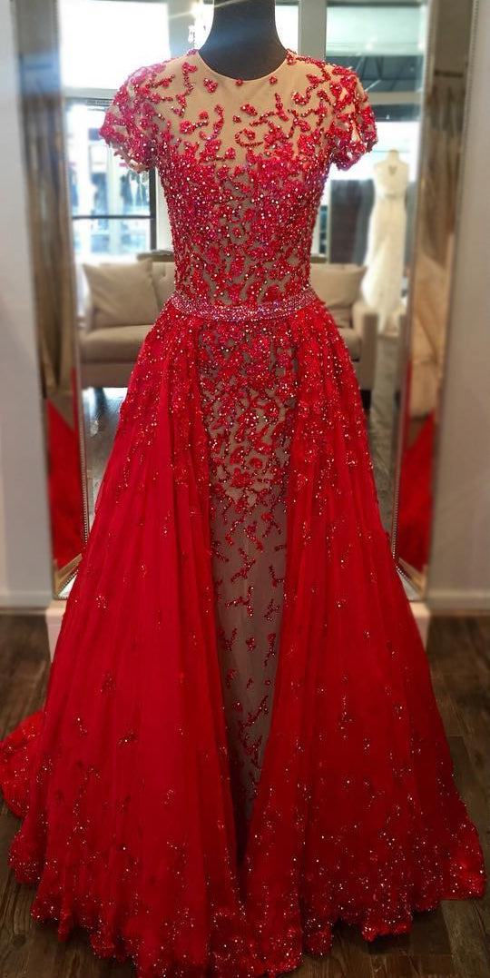 luxury-beaded-lace-red-evening-prom-dress-in-dubai-short-sleeves-1