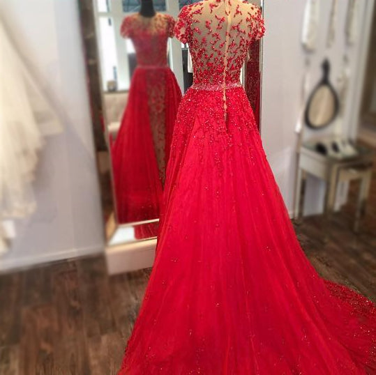 luxury-beaded-lace-red-evening-prom-dress-in-dubai-short-sleeves-2