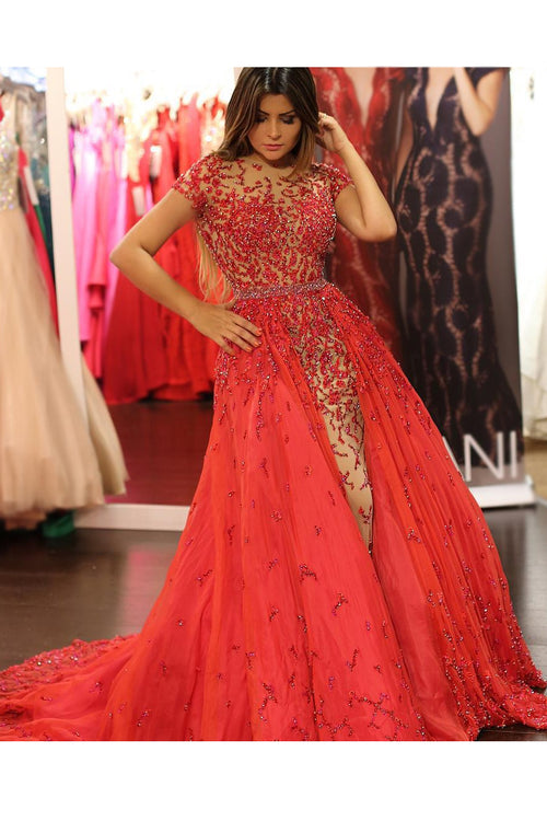 luxury-beaded-lace-red-evening-prom-dress-in-dubai-short-sleeves