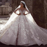 luxury-court-wedding-dress-beaded-flowers-rhinestones-long-train