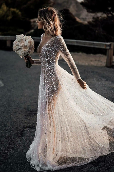 Halter Lace Beach Wedding Dress with Chiffon Skirt