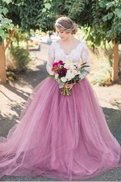 mauve-colored-tulle-wedding-dress-with-long-lace-sleeves-2