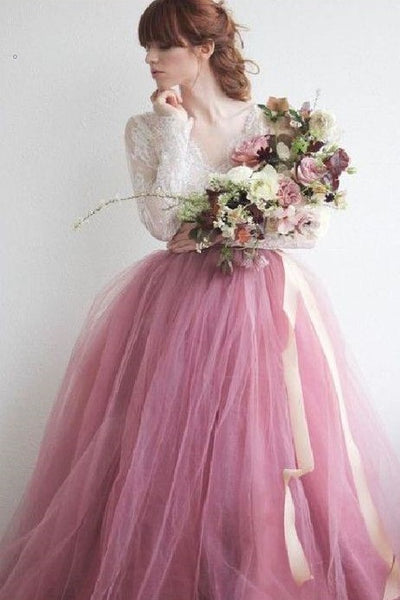 mauve-colored-tulle-wedding-dress-with-long-lace-sleeves