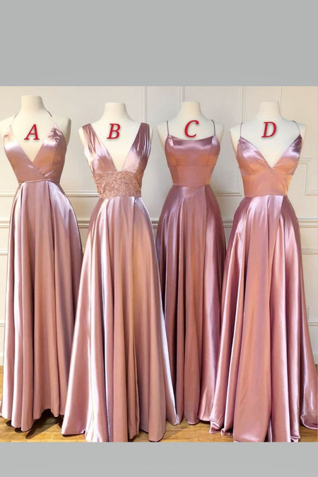 Modern A-line Blush Pink Bridesmaid Dress with Chiffon Floor-Length Skirt