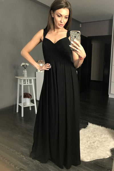maxi-long-black-chiffon-prom-gowns-with-beaded-cap-sleeves