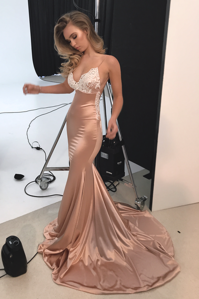 mermaid-prom-gown-with-ivory-lace-champagne-elastic-satin-skirt