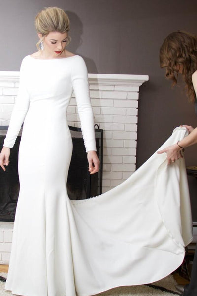 Long Sleeved Wedding Dresses.Mermaid Spandex Long Sleeved Wedding Dress With Crystals Sheer Back