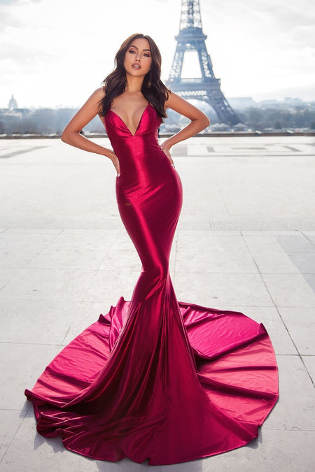 A-line Floor Length V-neck Red Chiffon Long Prom Gowns