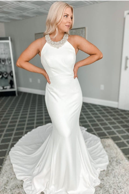 Simple Satin Mermaid Wedding Gown with Off-the-shoulder