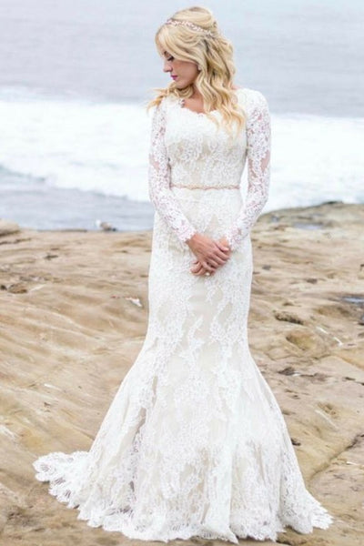 Winter Wedding Dress.Mermaid Winter Wedding Dresses With Lace Long Sleeves