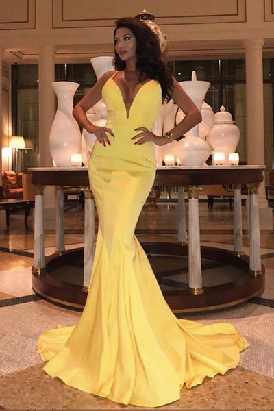 mermaid-yellow-prom-dress-with-plunging-neckline