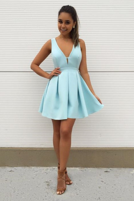 White Satin Short Prom Dress with Pockets