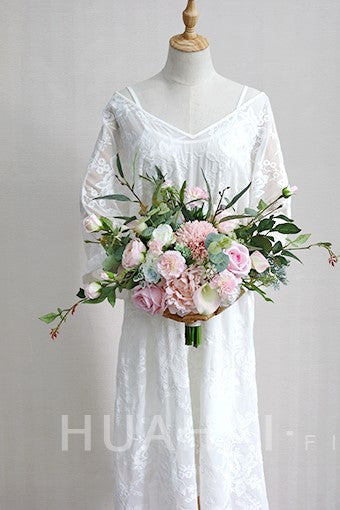 Artificial Roses Pink Wedding Bridal Bouquet Holding Flowers