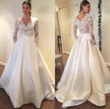 modern-illusion-lace-long-sleeves-wedding-dresses-with-satin-skirt-1
