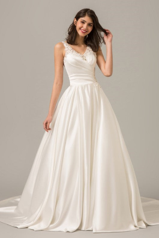 3b86a47f Modern Satin Ball Gown Wedding Dress with Illusion Beaded Back ...