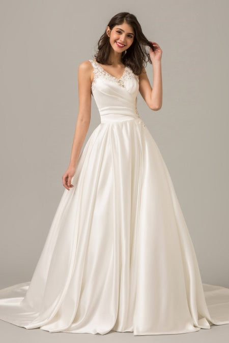 White Satin Ball Gown Wedding Dress Long Sleeve Wide Neckline