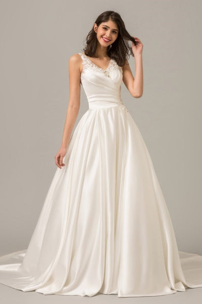 Modern Wedding Dresses.Modern Satin Ball Gown Wedding Dress With Illusion Beaded Back