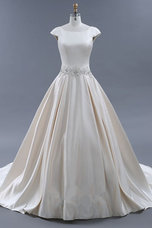 358910d6bc0 modest-light-champagne-wedding-dresses-ball-gown-with-