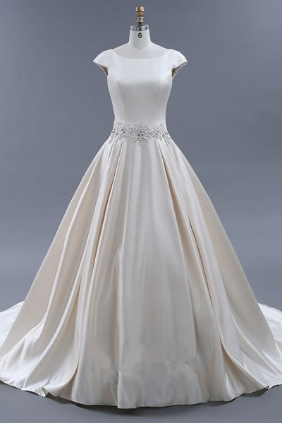 modest-light-champagne-wedding-dresses-ball-gown-with-beaded-sash