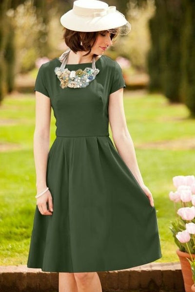 modest-olive-green-bridesmaid-gown-short-sleeves