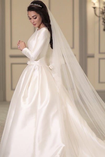 modest-satin-long-sleeves-wedding-dress-with-boat-neck-3