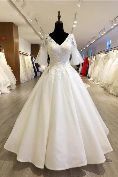 modest-v-neck-bride-wedding-gown-with-trumpet-sleeves