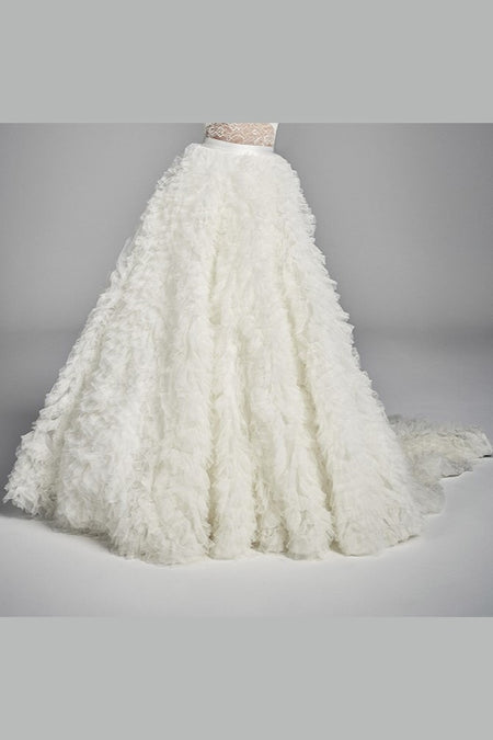 Long Lace Detachable Wedding Train Tulle Wedding Skirt