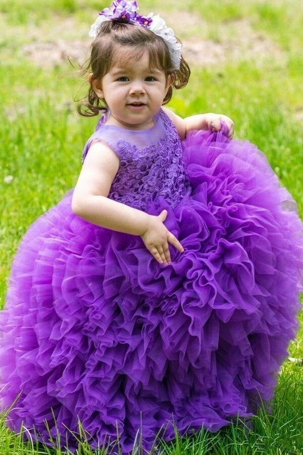 905f964aba78 Multi Tiers Tulle Lace Ball Gown for Kids Wedding Party Dress Purple ...