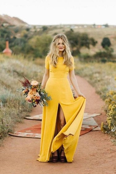 mustard-bridesmaid-wedding-guest-dress-with-short-sleeves-1