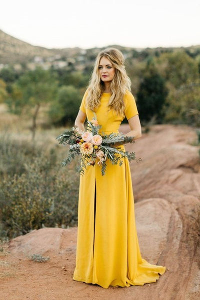 Wedding Guest Dresses With Sleeves.Mustard Bridesmaid Wedding Guest Dress With Short Sleeves