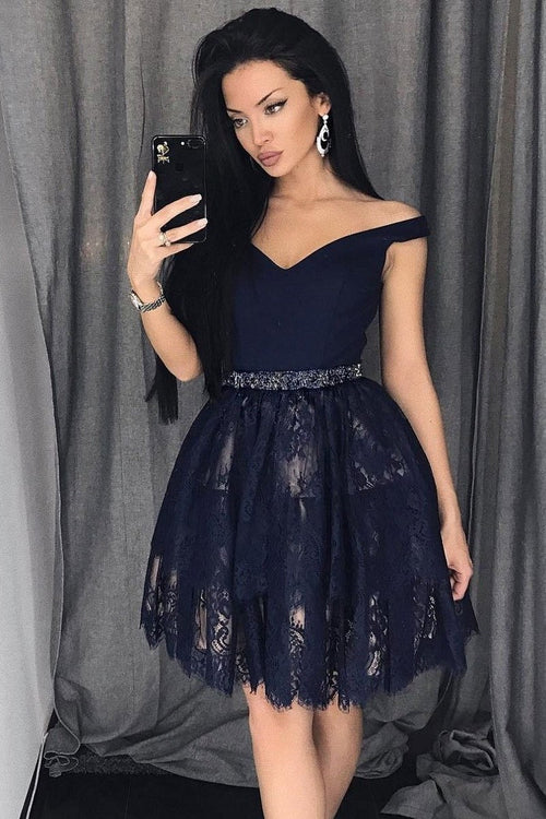 navy-blue-lace-homecoming-party-dress-short-off-the-shoulder-neckline