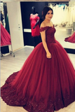 off-the-shoulder-beaded-lace-burgundy-prom-ball-gowns-vestido-de-baile