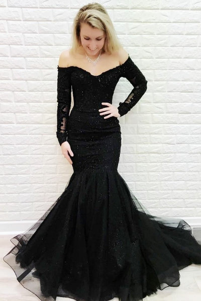 off-the-shoulder-black-lace-evening-dress-mermaid-style-train