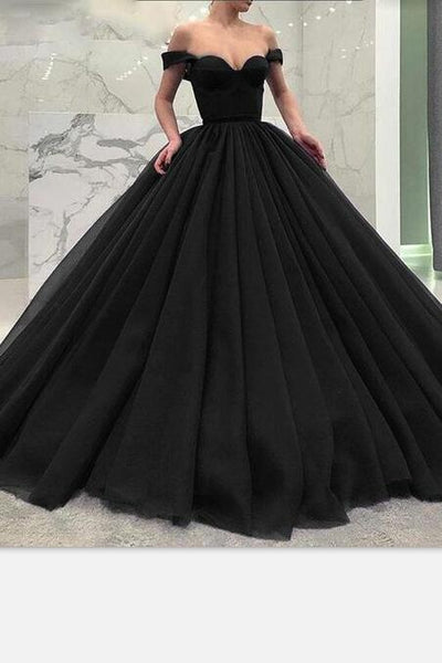 adb4afbaf Off-the-shoulder Black Prom Gown with Puffy Tulle Skirt – loveangeldress