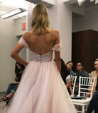 off-the-shoulder-blush-wedding-dress-tulle-ball-gown-1