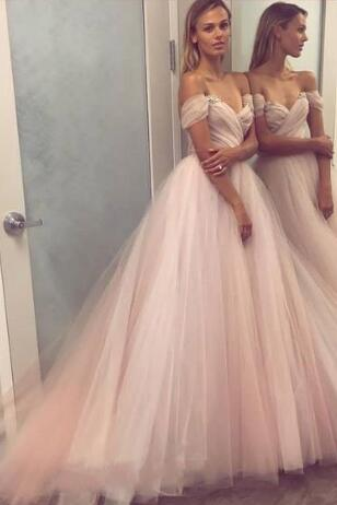 off-the-shoulder-blush-wedding-dress-tulle-ball-gown