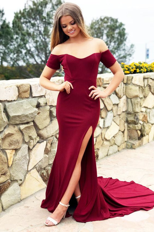 off-the-shoulder-burgundy-spandex-long-prom-dress-slit-side