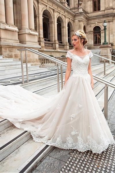 e63e686c385 Off-the-shoulder Cathedral Train Wedding Gown with Lace Bodice –  loveangeldress