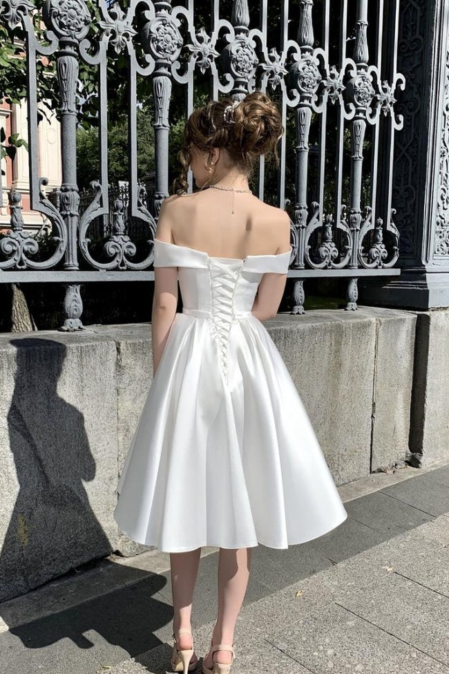 off-the-shoulder-corset-short-satin-wedding-dresses-with-bow-sash-1